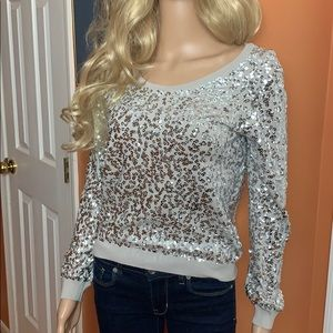 H&M gray silver sequined sweater size extra small
